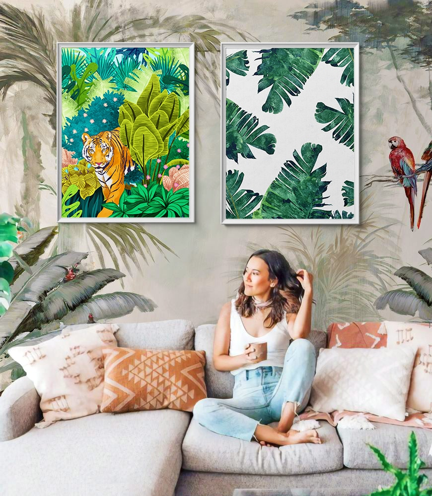 Modern boho nature inspired art & Custom logo design by Artist Uma Gokhale of 83 Oranges