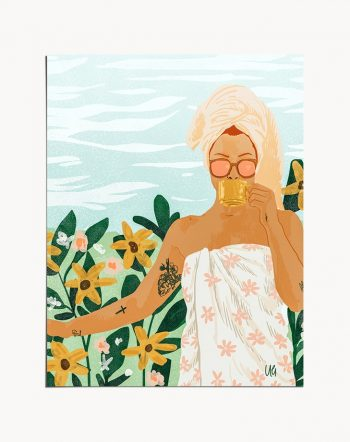 Buy the Earl grey 16 X20 modern boho illustration painting poster by artist Uma Gokhale as featured on Urban Outfitters, Society6