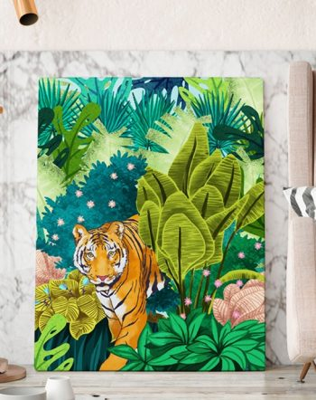 Shop Jungle Tiger Art Print, Colorful Forest Wildlife Painting, Modern Bohemian Wild Cat Illustration by artist Uma Gokhale 83 Oranges