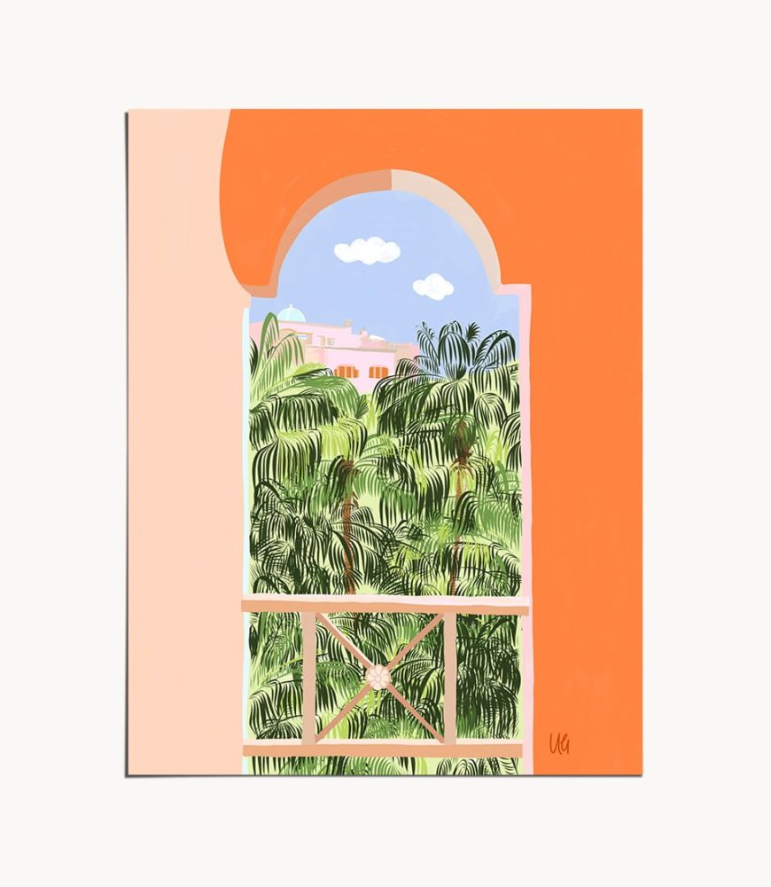 Buy the Summer Travel 16 X20 modern boho illustration painting poster by artist Uma Gokhale as featured on Urban Outfitters, Society6