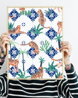 Shop the Tigers in Morocco modern boho poster by artist Uma Gokhale