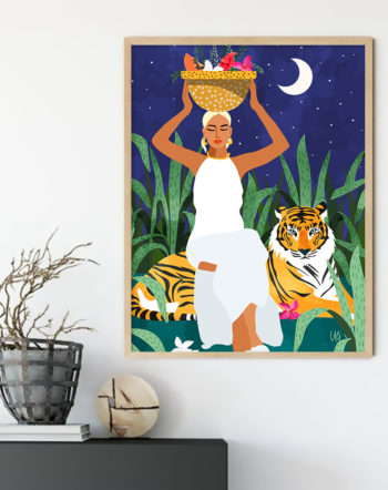 Shop Right Where I Needed To Be modern boho illustration painting Art Print by artist Uma Gokhale 83 Oranges unique artist-designed wall art & home décor