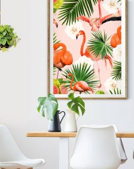 Shop the Flamingo guava nature modern boho botanical trendy art print signed by artist Uma Gokhale 83 Oranges