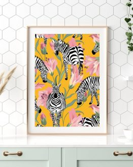 Shop the Striped for life zebra summer nature modern boho botanical trendy art print signed by artist Uma Gokhale 83 Oranges
