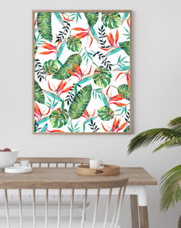 Shop A New Paradise tropical botanical modern illustration Art Print by artist Uma Gokhale 83 Oranges unique artist-designed wall art & home décor