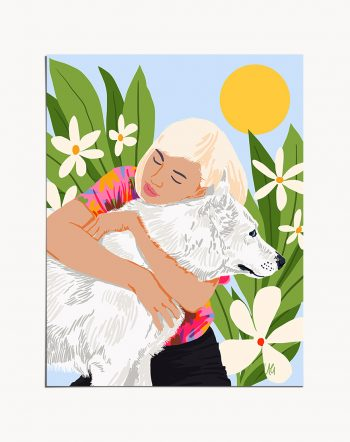 Shop All You Need Is Love And A Dog modern boho illustration painting Art Print by artist Uma Gokhale 83 Oranges unique artist-designed wall art & home décor