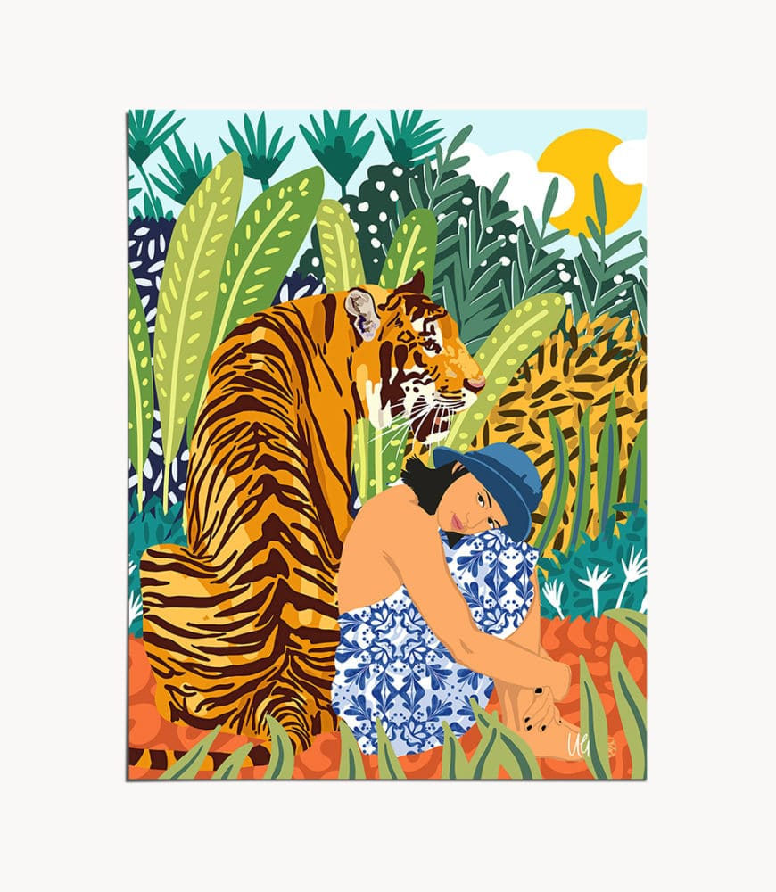 Shop Awaken The Tiger Within botanical tropical nature wildlife modern boho painting Art Print by artist Uma Gokhale 83 Oranges unique artist-designed wall art & home décor
