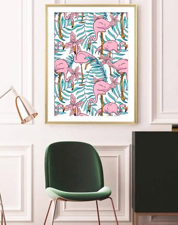 Shop Boho Flamingo botanical tropical wildlife modern boho illustration painting Art Print by artist Uma Gokhale 83 Oranges unique artist-designed wall art & home décor