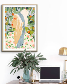 Shop Meera modern boho illustration painting Art Print by artist Uma Gokhale 83 Oranges unique artist-designed wall art & home décor