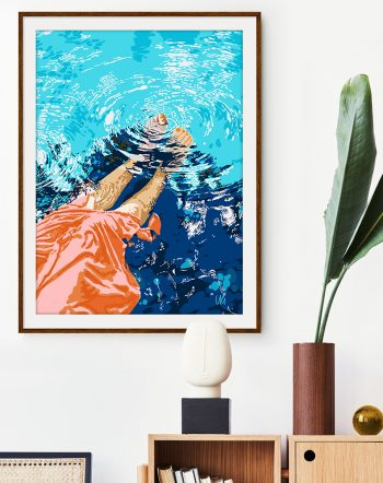 Shop Take Me Where The Waves Kiss My Feet modern boho illustration painting Art Print by artist Uma Gokhale 83 Oranges unique artist-designed wall art & home décor