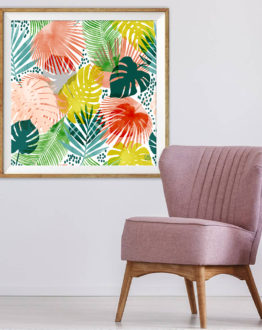 Shop Tropical Garden tropical botanical modern illustration Art Print by artist Uma Gokhale 83 Oranges unique artist-designed wall art & home décor