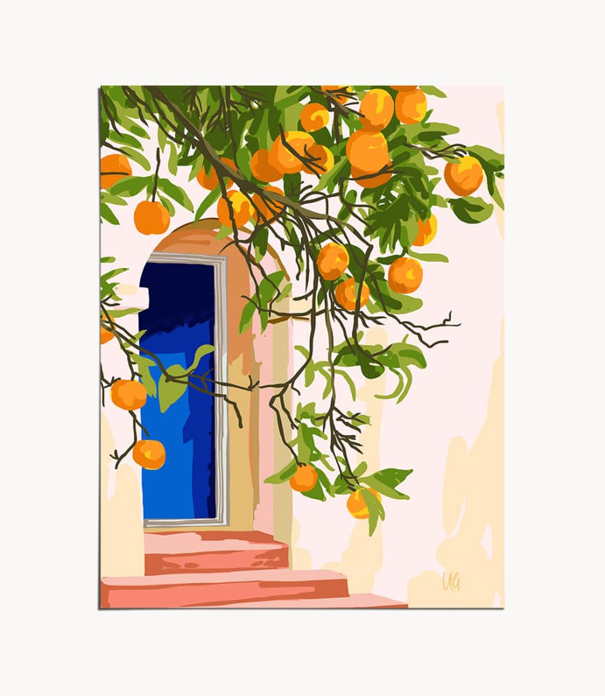 Shop the 'Wherever you go, go with all your heart' tropical botanical modern boho illustration painting art print signed by artist Uma Gokhale 83 Oranges 16 x 20