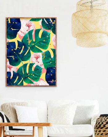 Shop Be Here Now Art Print, Maximalism Wall Decor, Colorful Floral Botanical Monstera Rose Art Print by artist Uma Gokhale 83 Oranges unique artist-designed wall art & home décor