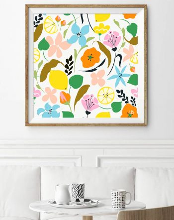 Shop Lemon Botanicals tropical botanical modern illustration Art Print by artist Uma Gokhale 83 Oranges unique artist-designed wall art & home décor