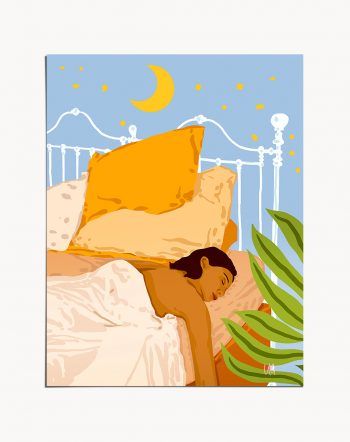 Shop Nope. Not Today., Eclectic Sleepy Lazy Woman in Bed Illustration, Bohemian Bedroom Home Art Print by artist Uma Gokhale 83 Oranges unique artist-designed wall art & home décor
