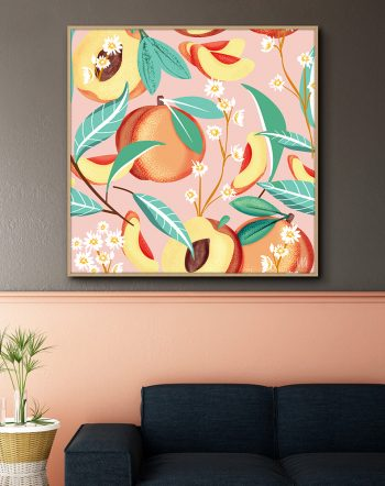 Shop Peach Season Art Print by artist Uma Gokhale 83 Oranges unique artist-designed wall art & home décor
