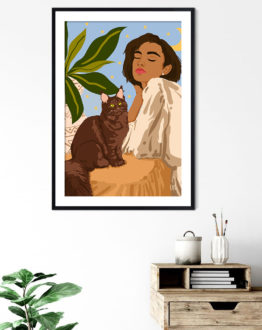 Shop Proud Cat Mama modern boho illustration painting Art Print by artist Uma Gokhale 83 Oranges unique artist-designed wall art & home décor
