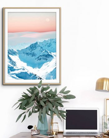 Shop Snow & Blush Horizon nature modern boho photography/digital art Art Print by artist Uma Gokhale 83 Oranges unique artist-designed wall art & home décor
