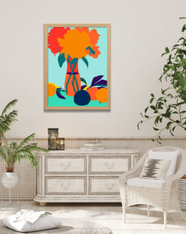 Shop The Greed For Fruit Misses The Flower tropical botanical modern illustration Art Print by artist Uma Gokhale 83 Oranges unique artist-designed wall art & home décor