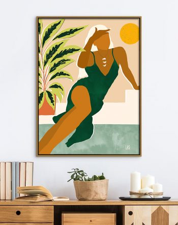 Shop The Wait, Modern Bohemian Woman, Fashion Plant Lady Illustration Art Print by artist Uma Gokhale 83 Oranges unique artist-designed wall art & home décor