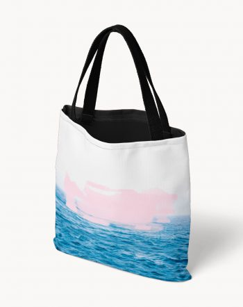 Shop Ocean Pink, Eclectic Beachy Travel Graphic Pastel Tote Bag by artist Uma Gokhale 83 Oranges unique artist designed fashion & accessories