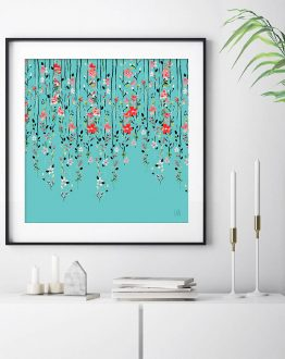 Shop Floral Dilemma, Teal Botanical Painting, Nature Eclectic Art Print by artist Uma Gokhale 83 Oranges unique artist-designed wall art & home décor