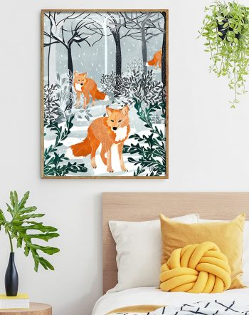 Shop Fox & Snow Art Print, Winter Wildlife Illustration, Forest Boho Animals Watercolor Painting by artist Uma Gokhale unique artist-designed wall art & home décor