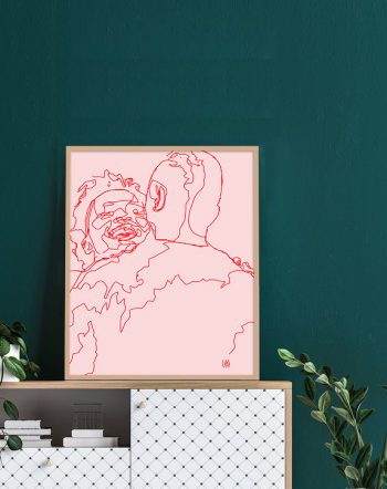 Shop Meet Cute, Pink Love Line Art, Couple Minimal Abstract Drawing Art Print Valentine's Day gift by artist Uma Gokhale 83 Oranges unique artist-designed wall art & home décor