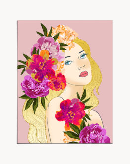 Shop Nature's Child Art Print, Flower Girl Gold Graphic Design, Plant Lady Golden Floral Portrait by artist Uma Gokhale 83 Oranges unique artist-designed wall art & home décor
