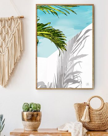 Shop Palms In My Backyard Art Print, Nature Greece Architecture, Tropical Palm White Building by artist Uma Gokhale