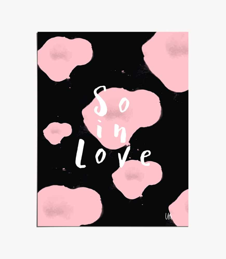 Shop So In Love, Quirky Romance Cute Painting, Eclectic Typography Art Print by artist Uma Gokhale 83 Oranges unique artist-designed wall art & home décor