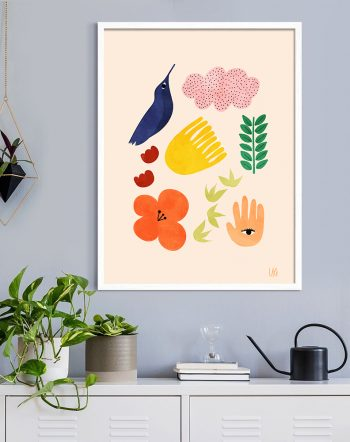 Shop Summer Memento, Nature Botanical Illustration, Rustic Elements Watercolor Art Print by artist Uma Gokhale 83 Oranges unique artist-designed wall art & home décor