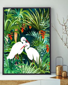 Shop Herons & Palm, Tropical Nature Wildlife Painting, Watercolor Birds Art Print by artist Uma Gokhale 83 Oranges unique artist-designed wall art & home decor