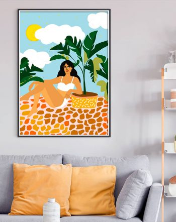 Shop Life With Banana Trees, Plant Lady Illustration, Tropical Travel Art Print by artist Uma Gokhale 83 Oranges unique artist-designed wall art & home decor