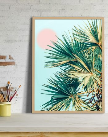 Shop Palm & Pink Summer, Pastel Tropical Botanical Photography Art Print by artist Uma Gokhale 83 Oranges unique artist-designed wall art & home decor