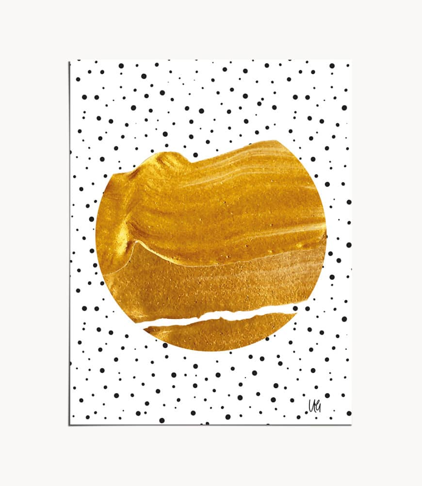 Shop Stay Gold, Gold Abstract, Graphic Design Texture, Polka Dots Art Print by artist Uma Gokhale 83 Oranges unique artist-designed wall art & home décor