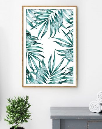Shop Tropical Island, Minimal Palm Illustration, Nordic Beachy Botanical Art Print by artist Uma Gokhale 83 Oranges unique artist-designed wall art & home decor