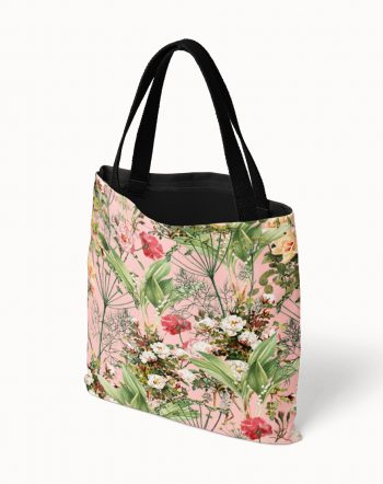 Shop Botanic, Vintage Blush, Tropical Botanical Jungle Tote Bag by artist Uma Gokhale for 83 Oranges fashion & accessories