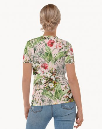 Shop Blush Botanic, Chic Tropical Botanical Bohemian Floral Summer T-shirt made to order by artist Uma Gokhale for 83 Oranges fashion