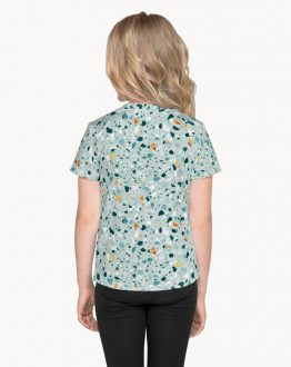 Shop Mint Terrazzo, Abstract Bohemian Fun Colorful Kids T-Shirt by artist Uma Gokhale 83 Oranges art-designed unique fashion for kids