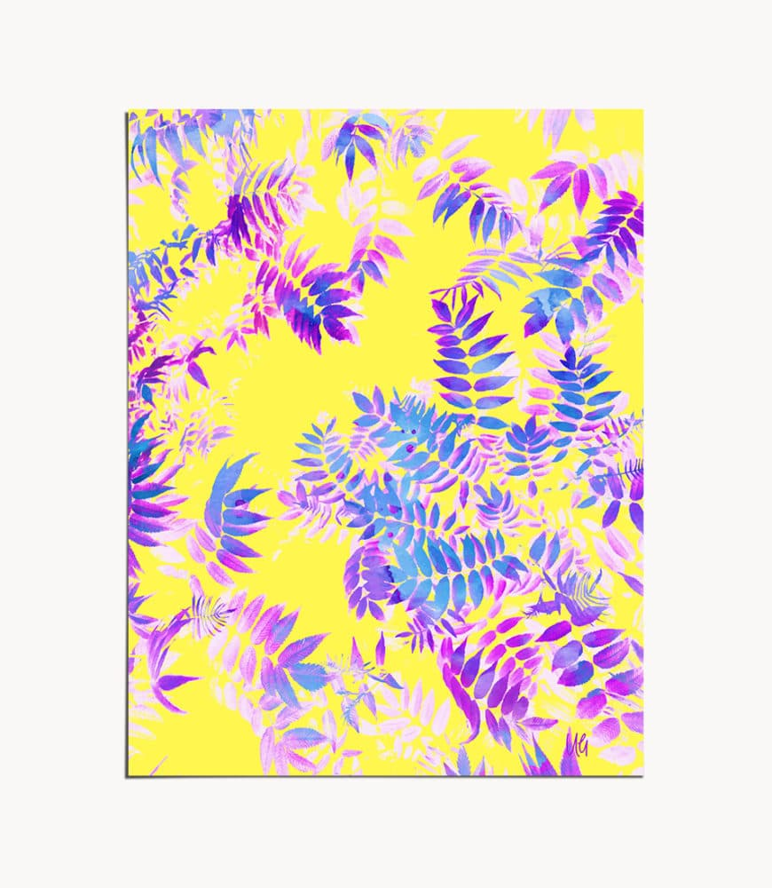 Shop Yellow & Purple Botanical, Eclectic Painting Art Print by artist Uma Gokhale 83 Oranges unique artist-designed wall art & home decor