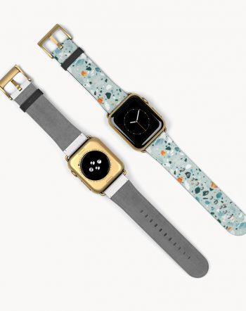Shop The Mint Terrazzo designer watch band designed by artist Uma Gokhale for 83 Oranges accessories