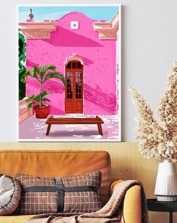 Shop Pink Architecture, Colorful Buildings Painting, Travel Cities Exotic Art Print by artist Uma Gokhale 83 Oranges wall art & home decor