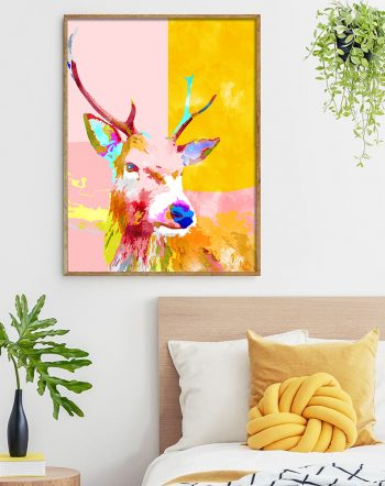 Shop Cervine, Abstract Antelope Deer Wildlife Animals Pastel Painting Art Print by artist Uma Gokhale 83 Oranges unique artist-designed wall art prints & home décor