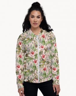 Shop Botanic, Chic Tropical Blush Botanical Floral Summer Bohemian Unisex Bomber Jacket by artist Uma Gokhale 83 Oranges artist-designed unique unisex fashion