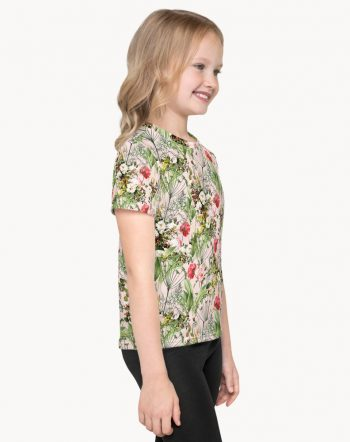 Shop Botanic, Chic Tropical Blush Botanical Floral Summer Bohemian Kids T-Shirt by artist Uma Gokhale 83 Oranges artist-designed unique fashion