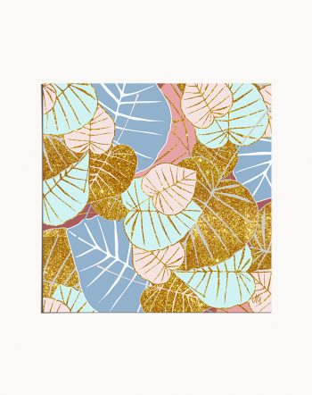 Floral Gold, Bohemian Botanical Nature Pastel Graphic Design Art Print by artist Uma Gokhale 83 Oranges artist-designed unique wall art & home decor