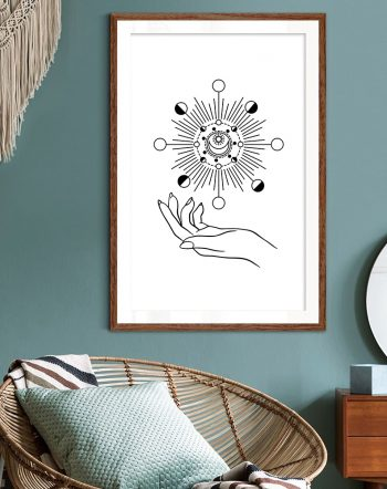 Shop I Rule The Sun, The Moon & All The Stars, Astrology Boho Drawing Minimal Art Print by artist Uma Gokhale 83 Oranges unique artist-designed wall art & home decor