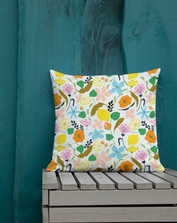 Shop Lemon Botanicals, Chic tropical Floral Summer Garden Pillow by artist Uma Gokhale for 83 Oranges unique artist-designed home décor