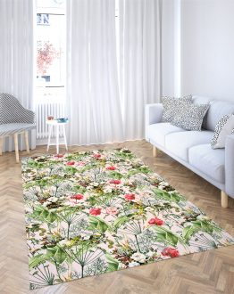 Shop Botanic Chic Tropical Blush Botanical Floral Summer Bohemian Area Rug designed by artist Uma Gokhale for 83 Oranges home décor